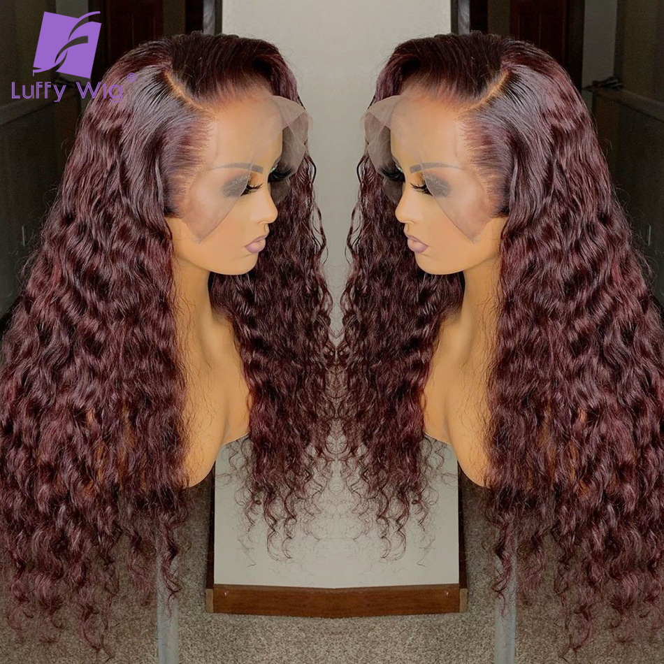 Colored Human Hair Wigs 99j Curly 13x6 Lace Front Wig Deep Part 180 Density With Baby Hair Pre Plucked Red Brazilian Remy LUFFY