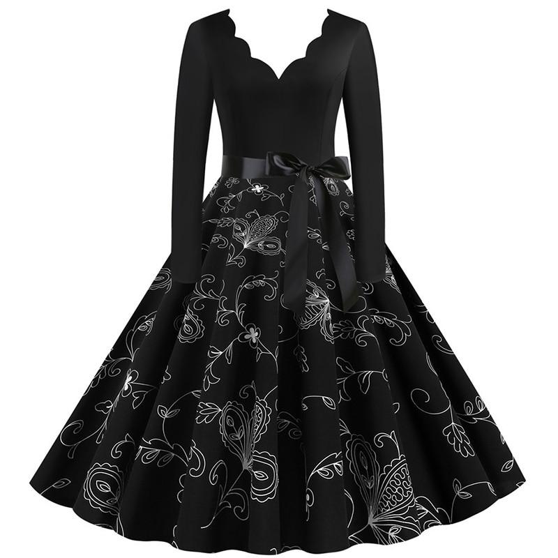 Women Long Sleeve Winter Vintage Dresses Sexy Black Music Note Print V-neck Rockabilly Pin up Party Dress Vestidos Plus size 655