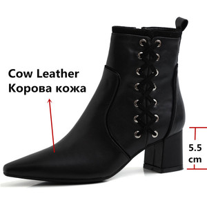 Image 3 - FEDONAS Quality Genuine Leather Women Ankle Boots Classic Pointed Toe Chelsea Boots Party Shoes Woman Elegant Office Prom Shoes