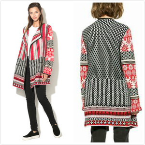 Spanish Deg spring and autumn and winter multi stitched sweater coat