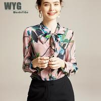 Blouses Woman 2020 Spring Green Leaf Print Self Bow Tie Unique Designer Fashion Real Silk Pink Long Sleeve Shift Shirts