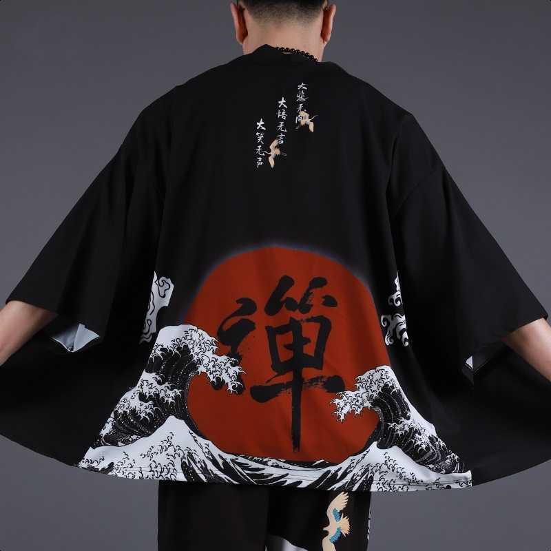 กิโมโนผู้ชายชุดกิโมโนญี่ปุ่นแบบดั้งเดิมชาย kimono Cardigan ผู้ชาย Harajuku streetwear SAMURAI costume yukata ชายเสื้อคลุมฮาโอริ Obi FF001A