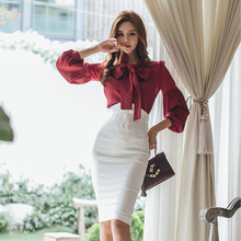 Spring Autumn Women Fashion Two-piece Slim Suit Female Bow Skirt Suit