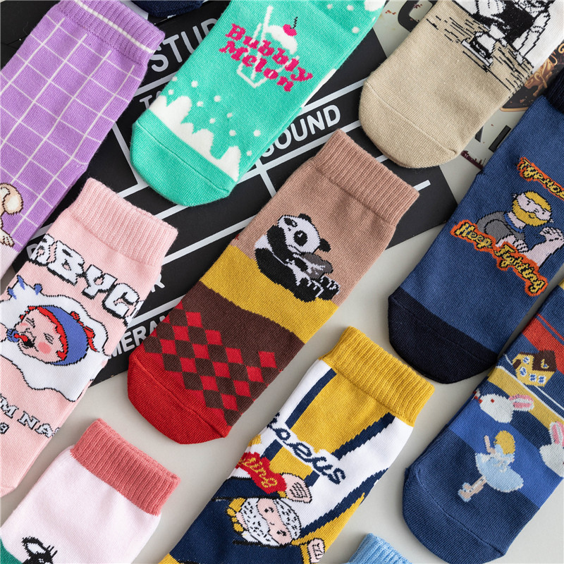 Cartoon Women Socks 2019 Autumn Winter New Cotton Sports Fashion Print Cute Trend Elastic Comfortable Happy Cartoon Socks Women