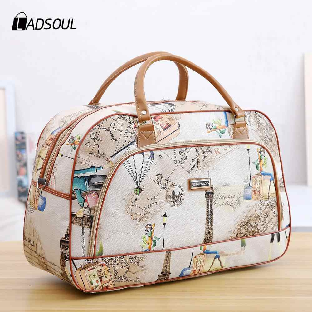Fashion Portable Shoulder Bag Duffel Bag for Men and Women PU Leather Printed Waterproof Printed Travel Bag Multifunction bag