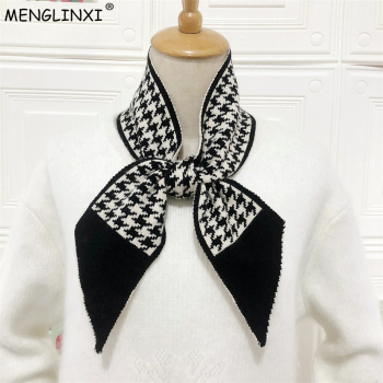 Houndstooth Plaid Luxury Brand Knitted Scarf 2020 New Women Winter Long Skinny Small Female Neckerchief