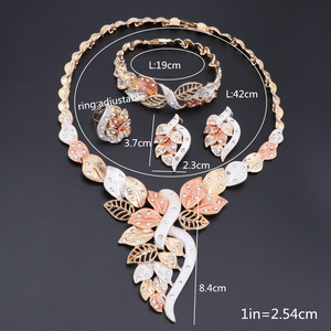 Image 5 - Fashion African Beads Necklace Earrings Set Nigerian Woman Wedding Jewelry Set Brand Dubai Gold Colorful Jewelry Sets