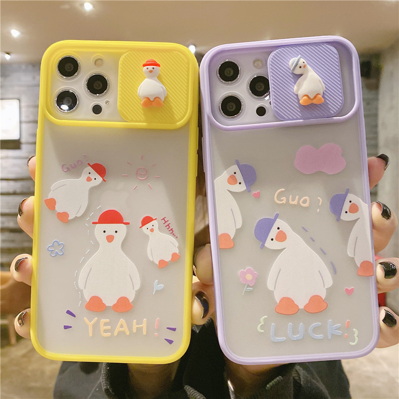 3D Cartoon Duck Camera Lens Protection Phone Case on For iPhone 11 12 Pro Max 8 7 Plus Xr Xs Max X SE 2020 12 Soft Back Cover
