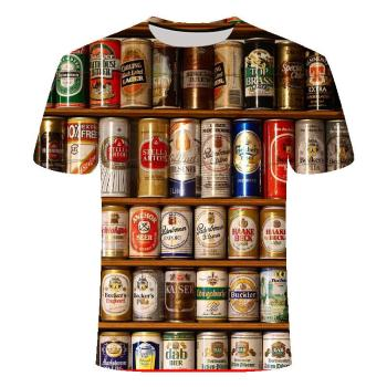 Funny men's short sleeve beer Clock 3D T-shirt, round neck large digital printed