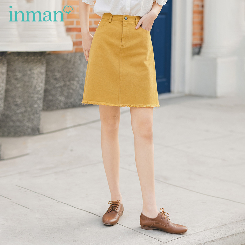 INMAN 2020 Summer New Arrival Pure Cotton Waistline Vitality Slimmed A-line Skirt