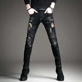 Free Shipping New 2020 men's male Black embroidered jeans brand slim pants Korean version spring and autumn models trousers