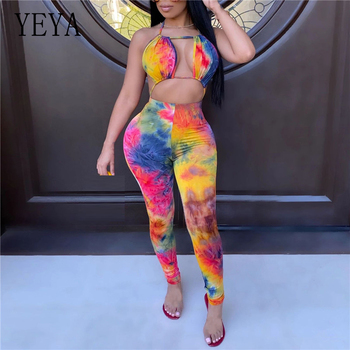 YEYA Sexy Halter Open Back Tie Dye Print Women Jumpsuits Club Party Playsuit Full Length Bodysuit Hollow Out Summer Rompers tropical print open back halter top