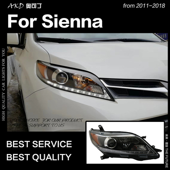 AKD Car Styling Head Lamp for Toyota Sienna Headlights 2013-2018 Sienna LED Headlight DRL Signal Hid Bi Xenon Auto Accessories фото