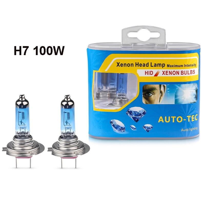 2pcs 12V H7 100W High Power 6000K Super Bright White Halogen Bulb Car Headlights H7 Halogen Headlight White Car Light Source