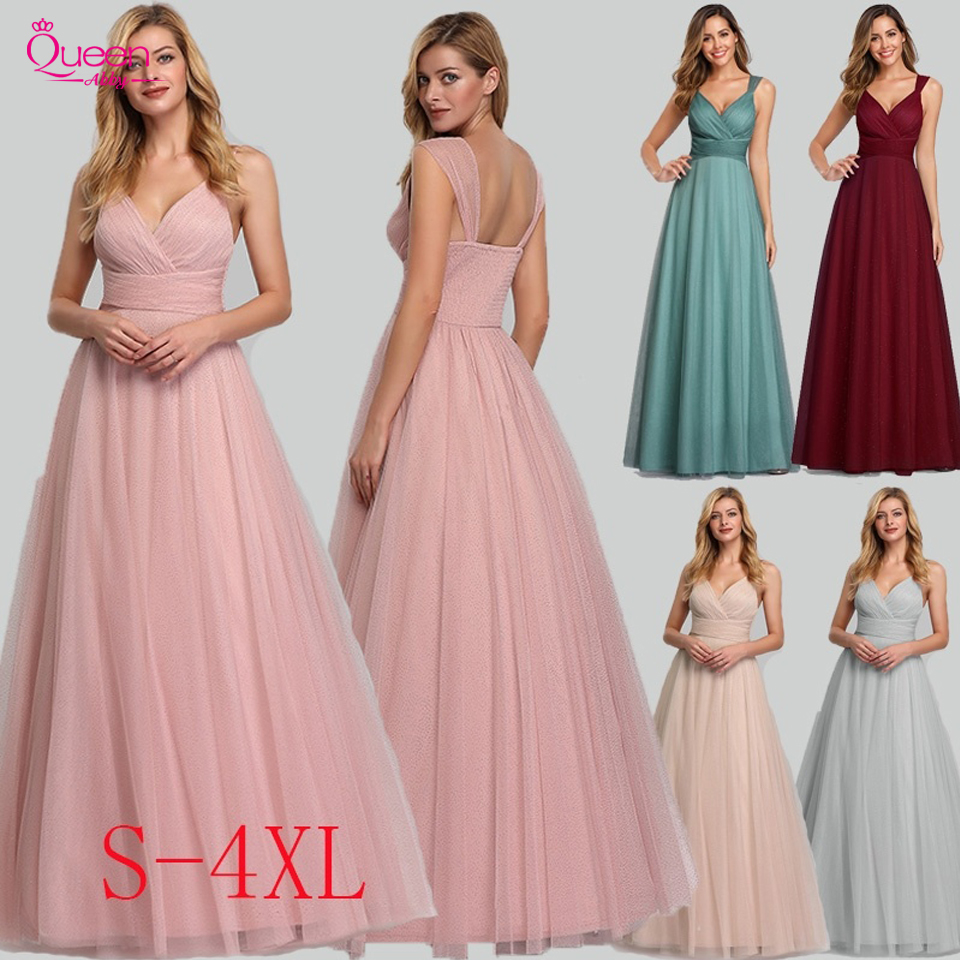 Evening Dress Long Elegant Side-Draped A-line V-neck With Straps Floor-length Sleeveless Evening Party Gowns Queen Abby