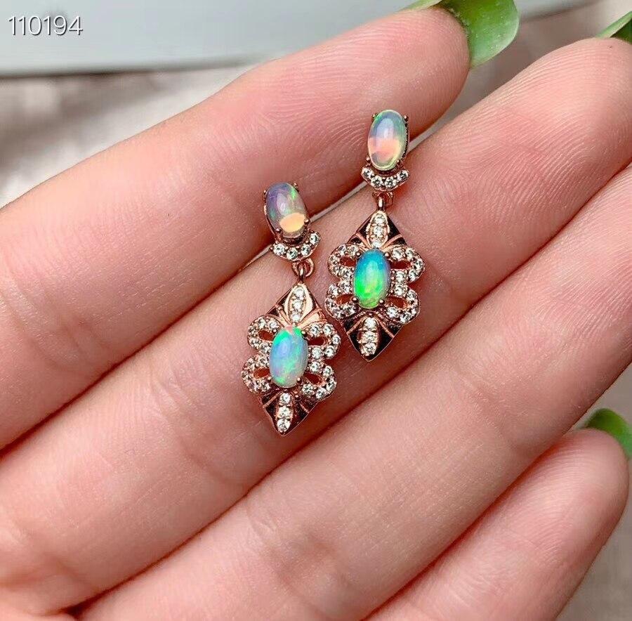 KJJEAXCMY boutique bijoux 925 en argent sterling incrusté opale naturelle femelle boucles d'oreilles détection de soutien - 5