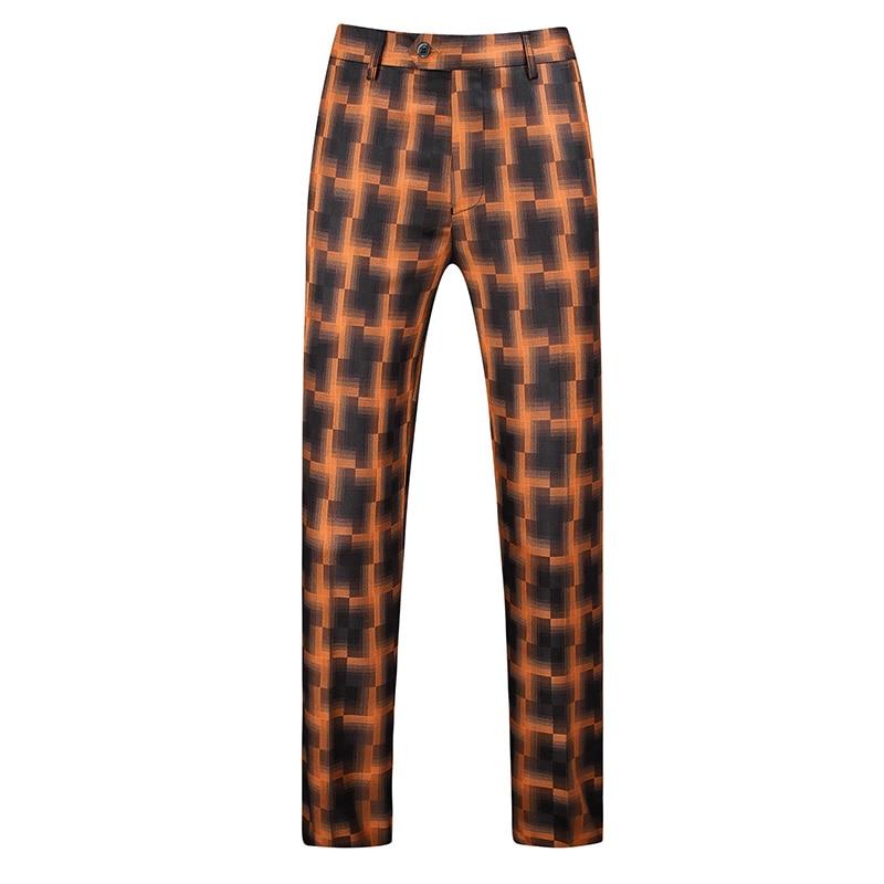 Gwenhwayfar, мужские синие клетчатые брюки, деловой костюм, брюки, деловые повседневные облегающие брюки, Классический Клетчатый костюм, брюки для свадьбы - Цвет: orange plaid