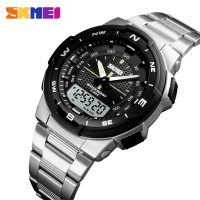 SKMEI-Relojes con correa de acero inoxidable para hombre, pulsera de moda con cronómetro, cronógrafo y función impermeable, con modelos deportivos