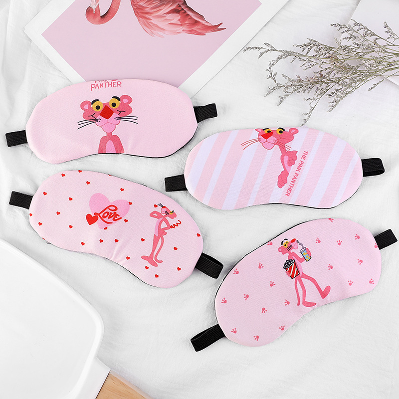 Most New Style South Korea Pink Panther Cute Adorable Cartoon Protection Eye Patch Pajama Shading Sleep Anime Eye Patch Knit