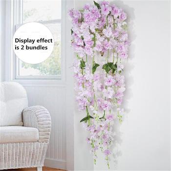 Sztuczne jedwabne sztuczne kwiaty dekoracje ogrodowe wiszące rośliny Garland sztuczne rośliny wystrój domu ogród ślub tanie i dobre opinie Pink Blue Red Green