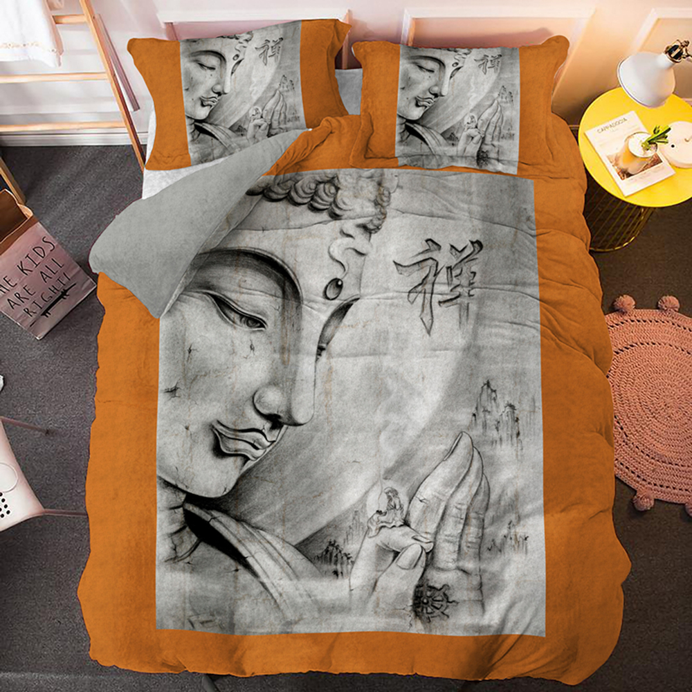 Orange Background Buddha Tattoos King Bedding Set Queen Single Double Size Duvet Cover With PIllowcase