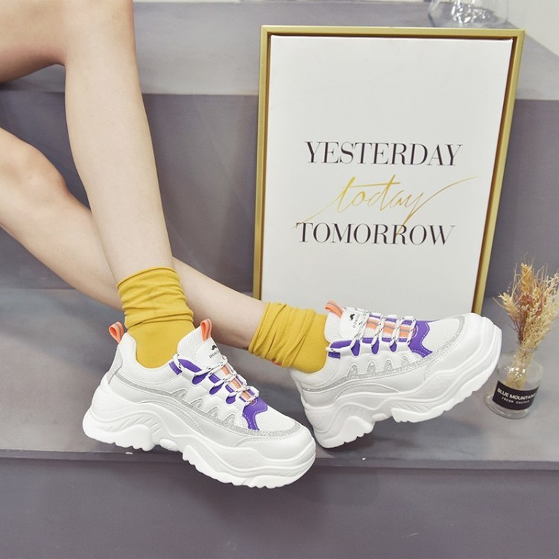 2020 New Women Platform Chunky Sneakers High Lace-up Casual Vulcanize Shoes Luxury Designer Female Fashion Sneakers K20-10