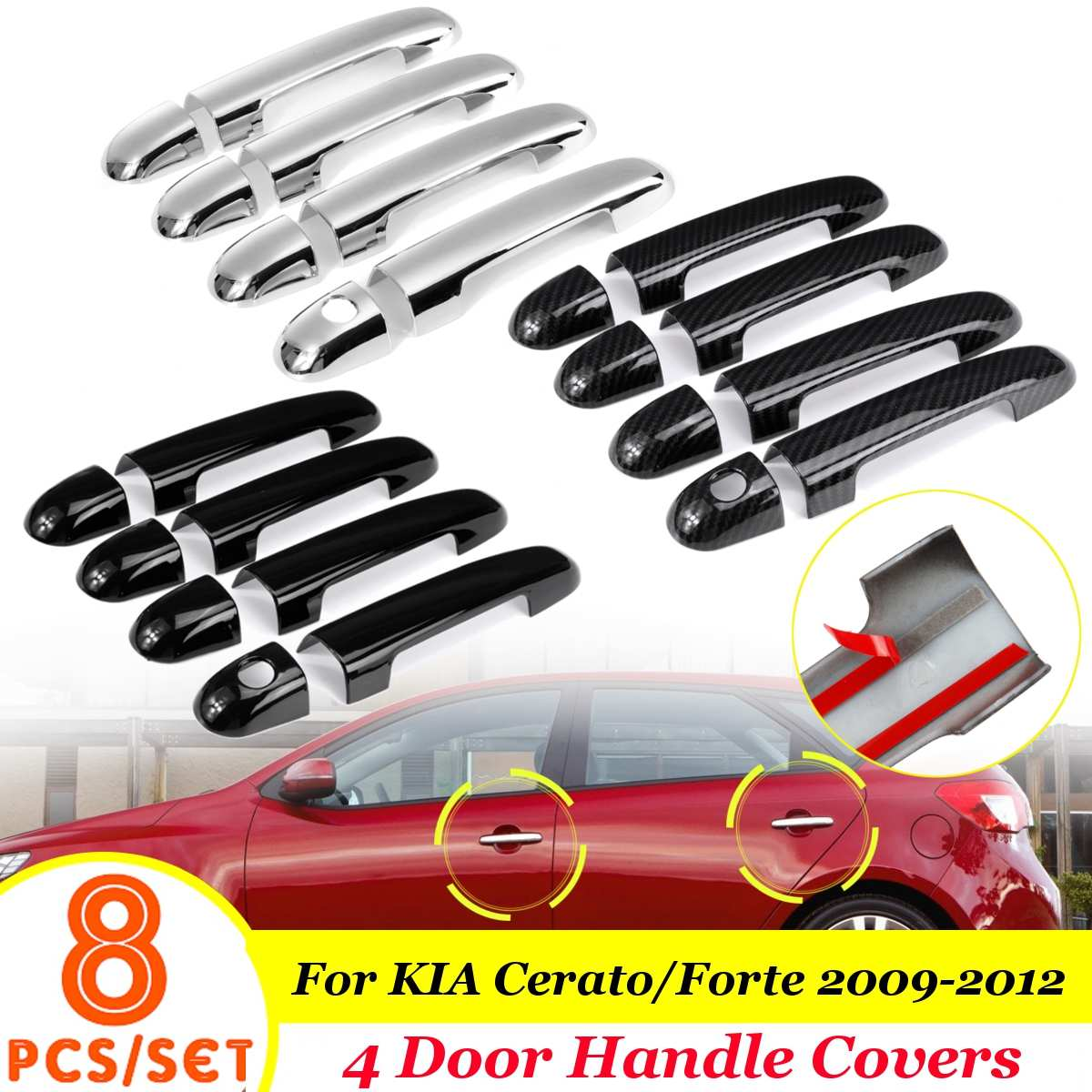 Chrome / Glossy Black Car Door Handle Covers Trim Sticker Auto Exterior Parts For Kia Cerato Forte 2009 2010 2011 2012