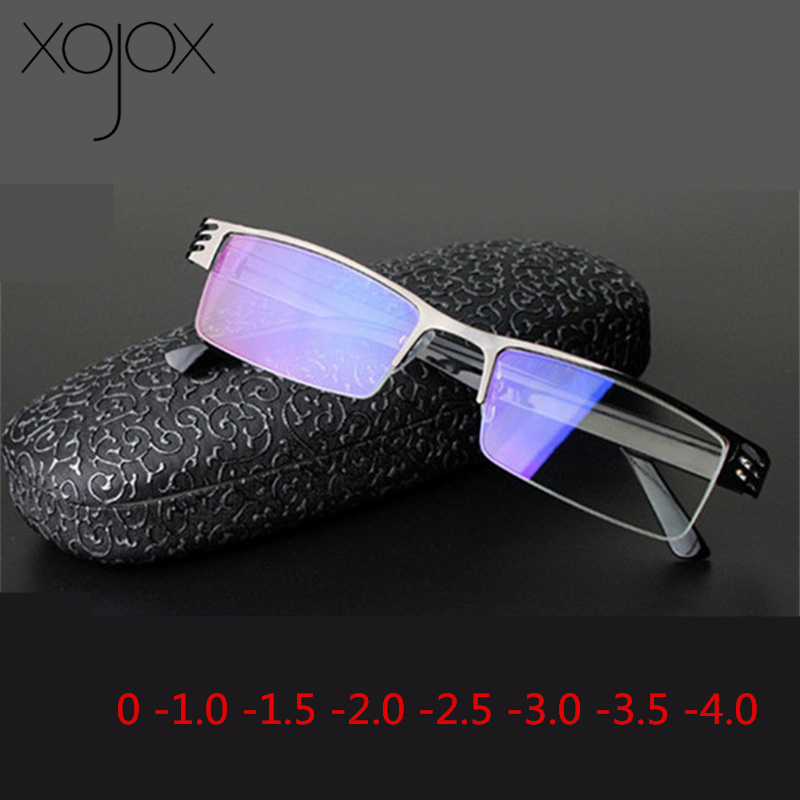 XojoX Finished Myopia Glasses Women Men Metal Half-rimmed Blue Film Short-sighted Eyewears Student Nearsighted Spectacles