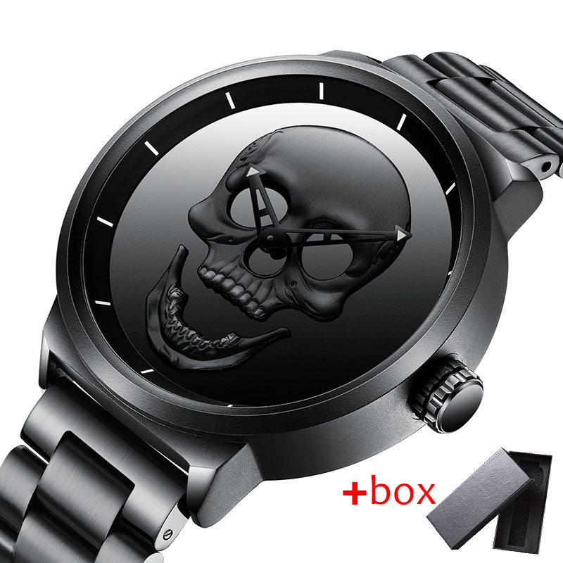 3D Skull Personality Retro Fashion Men's Watch Cool Skull Men Watch Luxury Brand Quartz Creative Clock Relogio Masculino