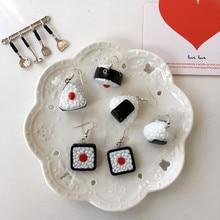 Sushi-Earrings Jewelry Rice-Balls Geometric Harajuku Women Cute Food Fun for Girl Handmade