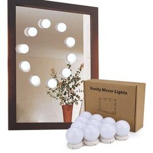 Image 5 - Bộ 10 Đèn Led Gương Trang Điểm Sáng Đèn Vanity Gương Trang Điểm Mờ Hollywood Đèn Tường Đựng Mỹ Phẩm Gương Cho Bàn Trang Điểm