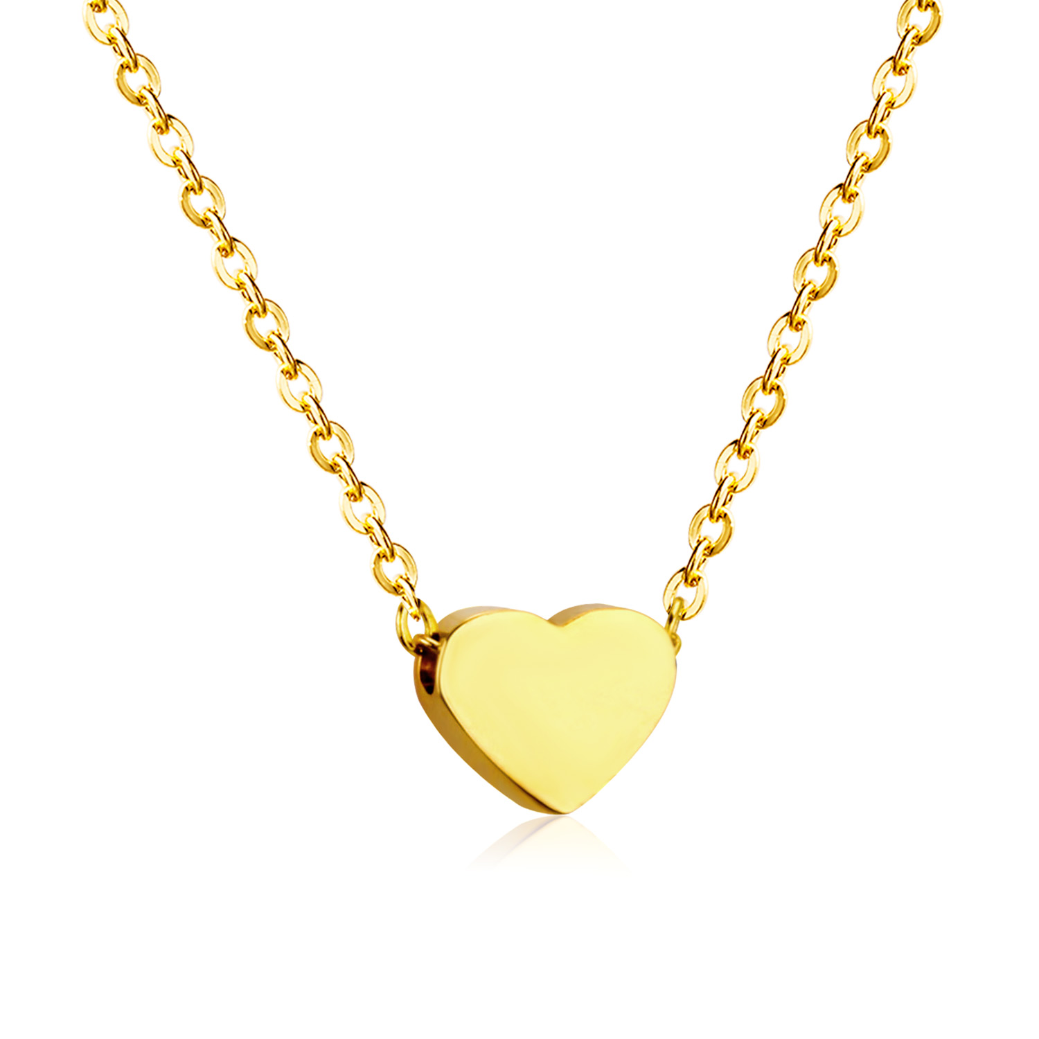 LUXUKISSKIDS Heart Pendants Necklaces Stainless Steel Choker Link Chain Gold Women/Men Necklace set hot Jewelry collares collier