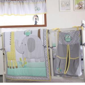 Детский комплект постельного белья из 8 предметов для девочек и мальчиков, серое одеяло со слоном, простыня для кроватки, юбка для детской кр...