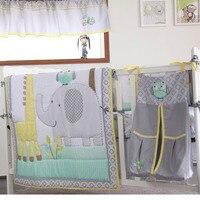 8pcs Baby Bedding Set for Girls Boys Grey Elephant comforter, crib sheet, crib skirt,bumpers and nappy stacker 2020 New design