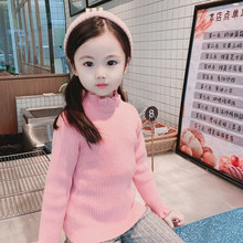 все цены на Baby Girls Turtleneck Knitted Sweater Warm Fall Children Clothing 1-5 Years Girls Knit Pullover Cardigan Kids Winter Bottom Top онлайн