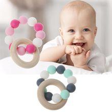Детские браслеты для кормления деревянные Прорезыватели силиконовые жевательные бусины Прорезыватели игрушки Прорезыватели браслеты Монтессори