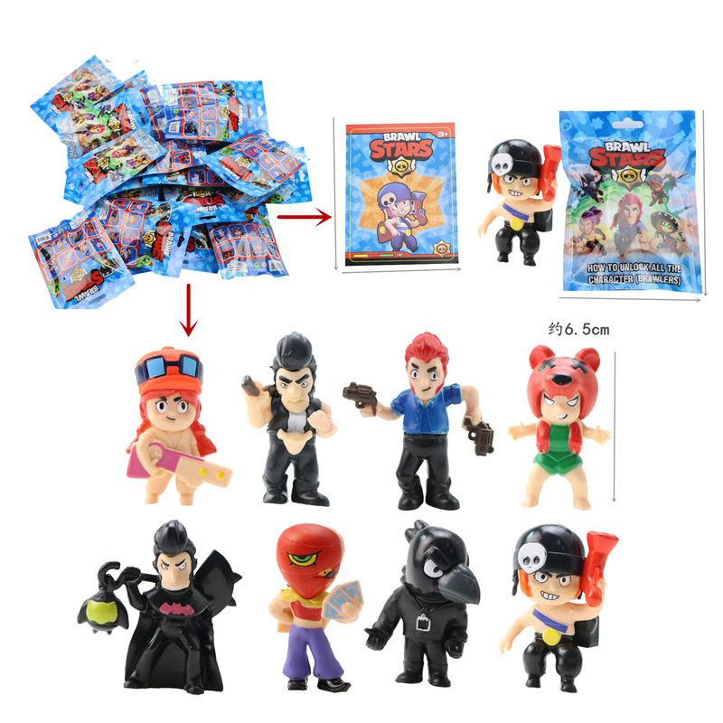 Game Figure Toys Poco Shelly Nita Colt Jessie Brock El Primo Mortis Crow Figures With Card Kids Toys Christmas Halloween Toys