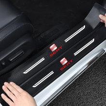 NEW 4PCS Carbon Fiber Door Sill Protector Leather Vinyl Stickers For SEAT FR leon mk3 mk2 5f lbiza Altea 6j Car Accessories