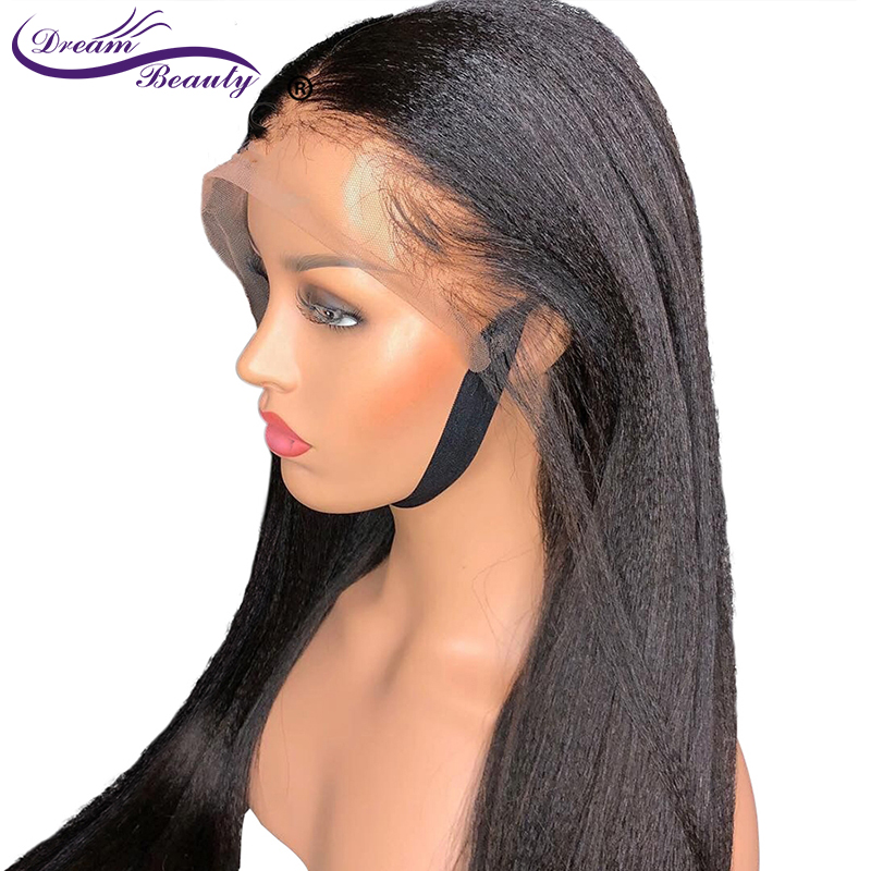 Pre Plucked 13X4 Lace Front Human Hair Wigs With Baby Hair Brazilian Non-Remy Hair Italian Light Yaki Straight Wigs Dream Beauty