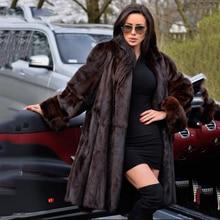 TOPFUR 2019 Clearance Price Fashion Real Fur Coats With Raccoon Cuff Women Long Whole Skin Coat Winter Mink Jackets