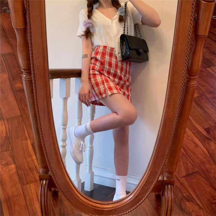 Ha7b4e45cea42472d9c1ac3e24f0e347bm - Korean Colored Plaid Skirt Women Student Chic Short Skirts Fashion Sexy Mini Skirts Spring Summer Female Skirts