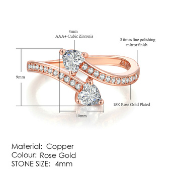 ZHOUYANG Ring For Women Simple Style Cubic Zirconia Wedding Ring Light Gold Color Fashion Jewelry KBR103 18