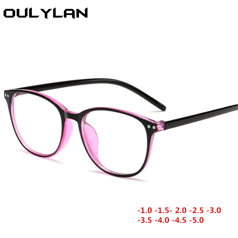 Oulylan Finished Myopia Glasses Women Blue Film Eyeglasses Men Short-sighted Eyewear Degree -1.0 -1.5 -2.0 -2.5 -3.0 -4.0 -5.0