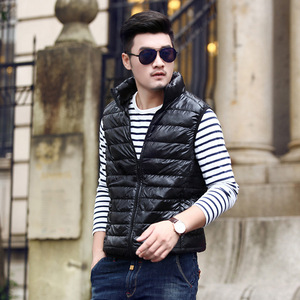 Image 2 - 2019 New Winter White Goose Down Vest For Men Autumn Warm Casual Sleeveless Jacket Male Light Black Stand Collar Coat Mens WFY09