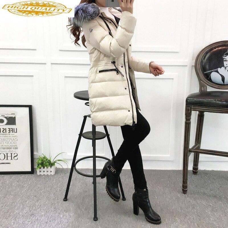 2020 Women's Down Jacket Korean Long Coat Female Puffer Jacket Women Large Fur Collar Korean Warm White Duck Down Coat KJ2617