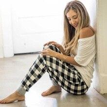 Women Pants Plus Size Clothes Plaid Casual Cotton Loose Elastic Waist Vintage Female Sweatpants
