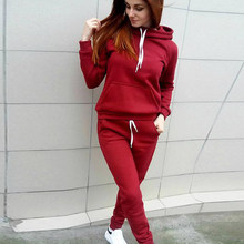 2019 Autumn Winter Women Tracksuit Suits Hoodie Sweatshirt Pants Set Letter Printed Pullover Trousers Sportswear Pockets 4XL(China)