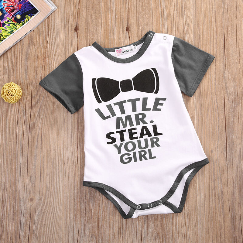 Emmababy Newborn Baby Boy Letter Print Short Sleeve Casual Bodysuit Funny Clothes Outfits Sunsuit