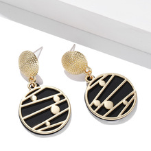 цена на American new fashion geometric Earrings personality pop retro metal circle stripe Earrings temperament simple Earrings