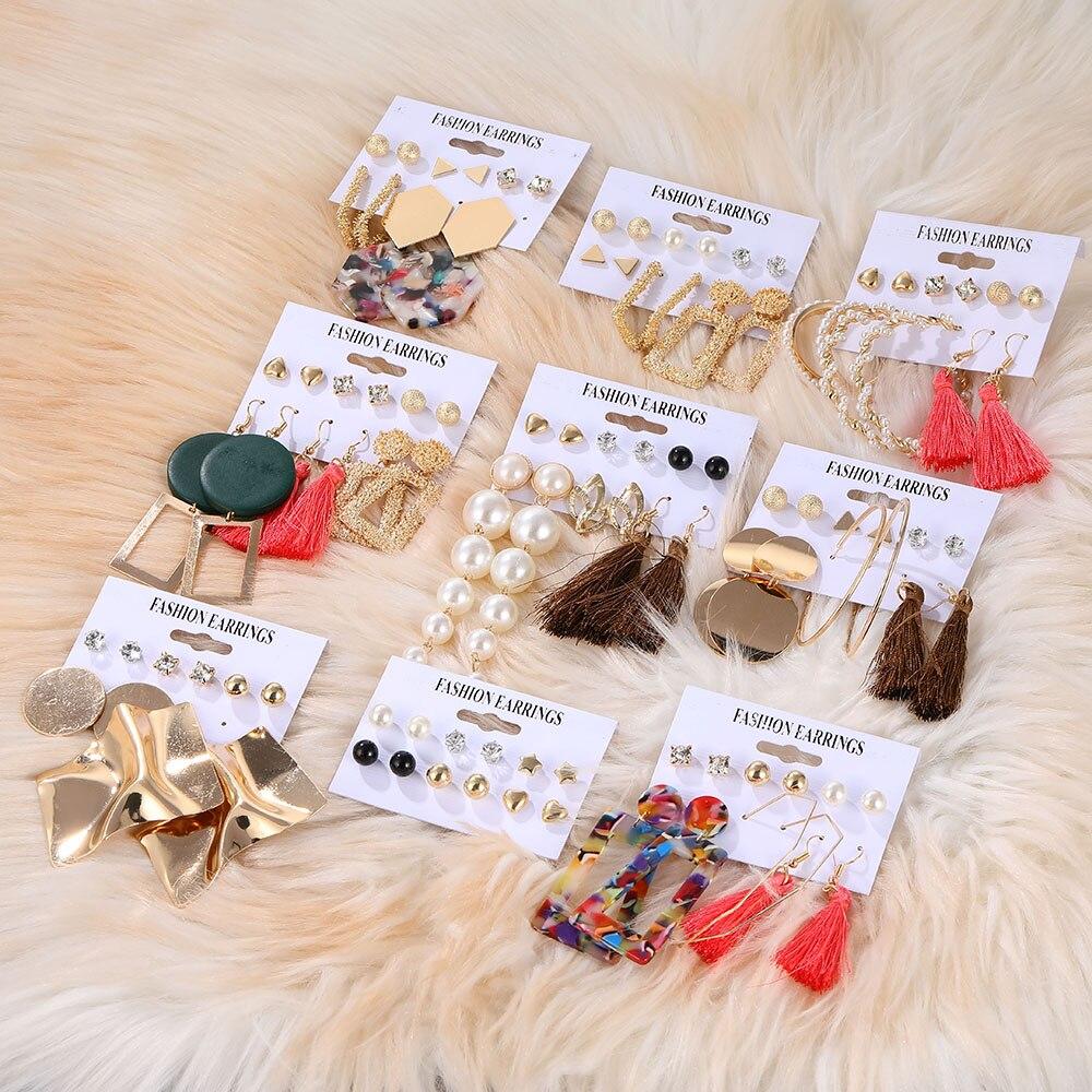 ZOVOLI Gold Tassel Pearl Stud Earrings Set For Women Big Statement Geometric Acrylic Earings Fashion Boho Jewelry Earrings 2020